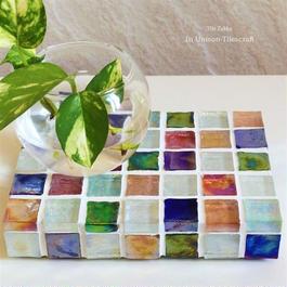 【受注販売】カラフルMix ガラスモザイクタイルのミニディスプレイトレイ(小物置き)