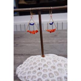 ラピスラズリと珊瑚のシャンデリアピアス