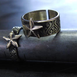 スター彫模様真鍮ブラスリング・トゥリング 指輪1本 サイズ1号~15号