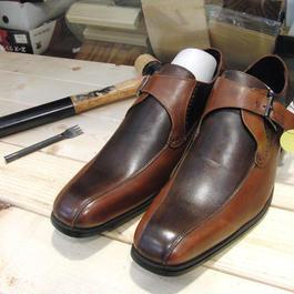 ダークブラウン&ブラウン 工房染色の牛本革モンク靴