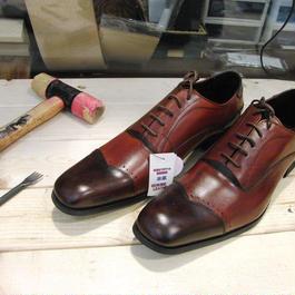 アンティークレッド&ブラウン 工房染色の牛本革ロングノーズ靴