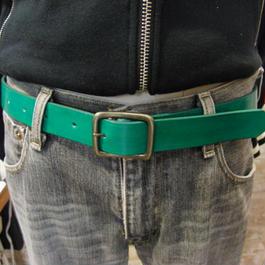 サイズ調整無料・各種サイズ可 グリーン 牛本革3cm幅レザーベルト