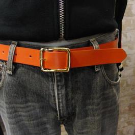 サイズ調整無料・各種サイズ可 オレンジ 牛本革3cm幅レザーベルト