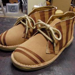 M~LL限定 ストライプ染め本革靴 レディースブラウンスエードレザーブーツ