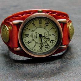 レトロ調時計使用 レッドレザー コインコンチョ本革ブレスレット型腕時計