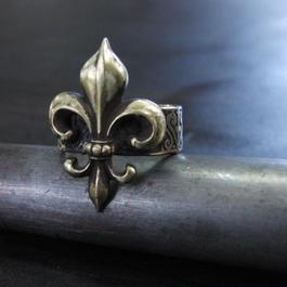 フレア彫模様真鍮ブラスリング 指輪サイズ1号~15号調整無料