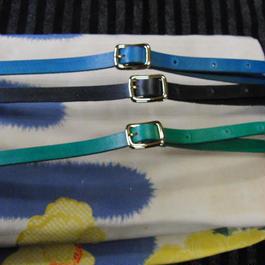 (青緑黒のうち1本)10mm幅 着物や浴衣に本革帯締め 帯留め可
