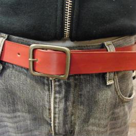 サイズ調整無料・各種サイズ可 レッド 牛本革3cm幅レザーベルト