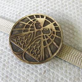 真鍮製 梟デザインコイン型帯留め 着物や浴衣に