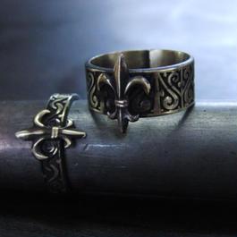ミニフレア彫模様真鍮ブラスリング・トゥリング 指輪1本 サイズ1号~15号
