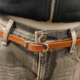 サイズ調整無料・各種サイズ可 ブラウン 牛本革1.5cm幅レザーベルト