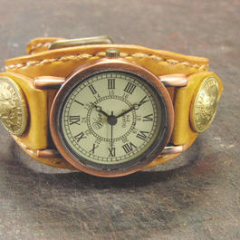 レトロ調時計使用 飴色レザー コインコンチョ本革ブレスレット型腕時計
