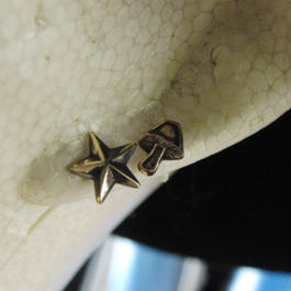 キノコ・スター星型ポストピアス1個/真鍮ブラス&チタン製