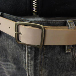 サイズ調整無料・各種サイズ可 ヌメ生成り 牛本革3cm幅レザーベルト
