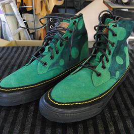 26~28cm限定 緑ドット染め牛本革靴 スエードグリーンレザーブーツ