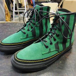 26~27cm限定 緑ストライプ染め牛本革靴 スエードグリーンレザーブーツ