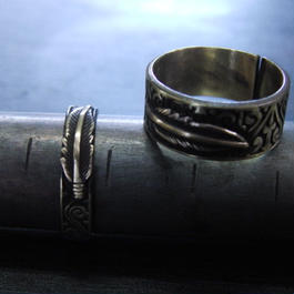 ミニフェザー彫模様真鍮ブラスリング・トゥリング 指輪1本 サイズ1号~15号