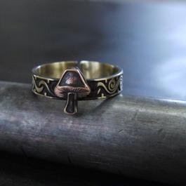 キノコ彫模様真鍮ブラスリング・トゥリング 指輪1本 サイズ1号~15号