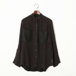 スタンドカラーシャツ/ブラック