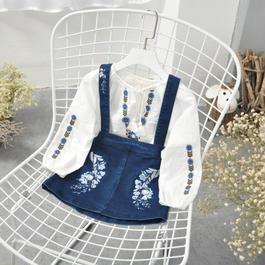 花刺繍デニムスカート