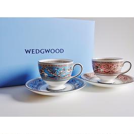 ウエッジウッド フローレンティーンターコイズ&ピンク 兼用カップ&ソーサーペア(ペアブランドボックス付き)