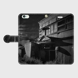 秋田県・八郎潟赤線<登きわや> iPhoneケース(手帳型)
