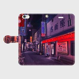 福岡県・小倉駅前の歓楽街 iPhoneケース(手帳型)