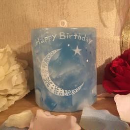 Happy Birthday メッセージ入りアロマキャンドル(ローズの香り)
