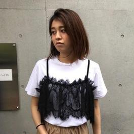 キャミレイヤード風Tシャツ