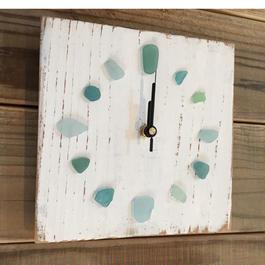 wood clock~Seaglass~