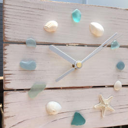 wood clock~Shell&Seaglass~
