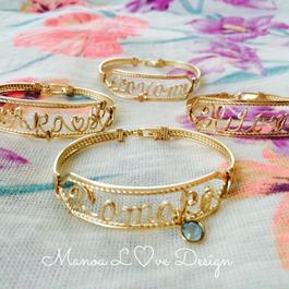 Manoa Love Design /14K Gold f / カスタムネームバングル レディースサイズ