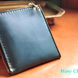 スムースプルアップレザー・L型財布(ブルーグリーン)