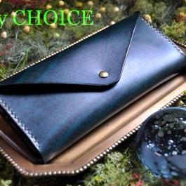 革の宝石ルガトー・長財布2(緑×黒)