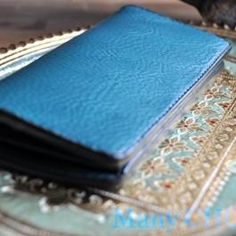 イタリアンオイルレザーアリゾナ・長財布(ターコイズ)