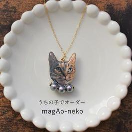 【オーダーメイド】うちの子で大人可愛い猫(どうぶつ)フェイスネックレス(1匹用)※チェーンを14Kgfに変更OK