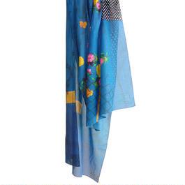 "MIFUNE コットン・ロングストール ""Blue bouquet"""