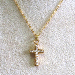 Pearl cross charm