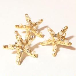 Starfish ear clip (pearl) 1piece