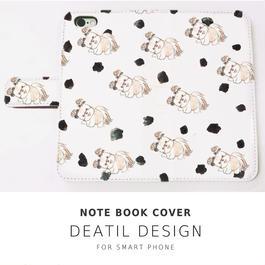 NEW! 手帳型スマホケース  DOG DOG LOVE!WHITE