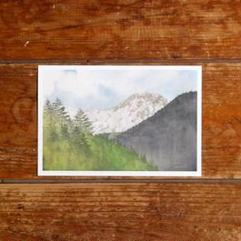 陽光の下の阿弥陀岳(ポストカード)