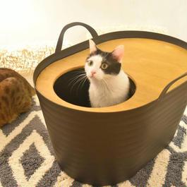 <砂が飛び散らない>上から入る猫トイレ<インテリアとしてもオシャレ> Uppifrån 【カカオブラック】