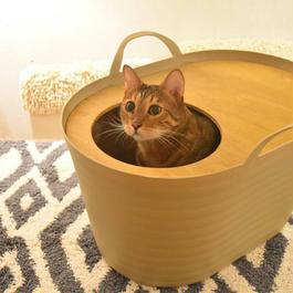 <砂が飛び散らない>上から入る猫トイレ<インテリアとしてもオシャレ> Uppifrån 【ミルクティーベージュ】