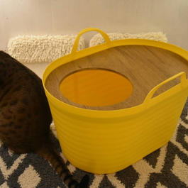 <砂が飛び散らない>上から入る猫トイレ<インテリアとしてもオシャレ> Uppifrån 【たんぽぽイエロー】