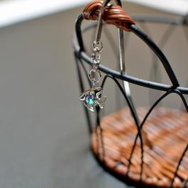 ブックマーカー(銀)*魚形・スワロカラー:クリスタルシャイン
