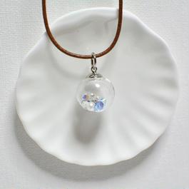 ガラスドーム  ペンダント A(ブルー×シルバー)