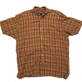 1990's STUSSY インド綿チェックシャツ 胸ロゴ刺繍  表記(S)