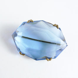 【Unsigned】Early 20C クリアブルー チェコガラス ブラス ブローチ/ヴィンテージ