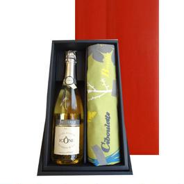ワインとエプロンのギフト コート・デュ・ローヌのスパークリングワイン「キュヴェ・イコン」 750ml と色々な種類の料理用ハーブ柄のフランスデザインのエプロン