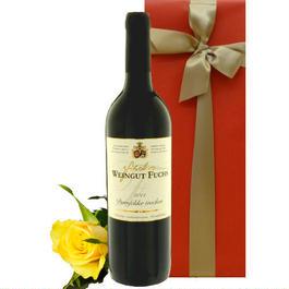 赤ワインとお花のギフト 芳醇な果実味のドイツの赤ワイン「ドルンフェルダー」と黄色のバラ